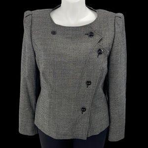 Escada virgin wool size 14 blazer gray logo button